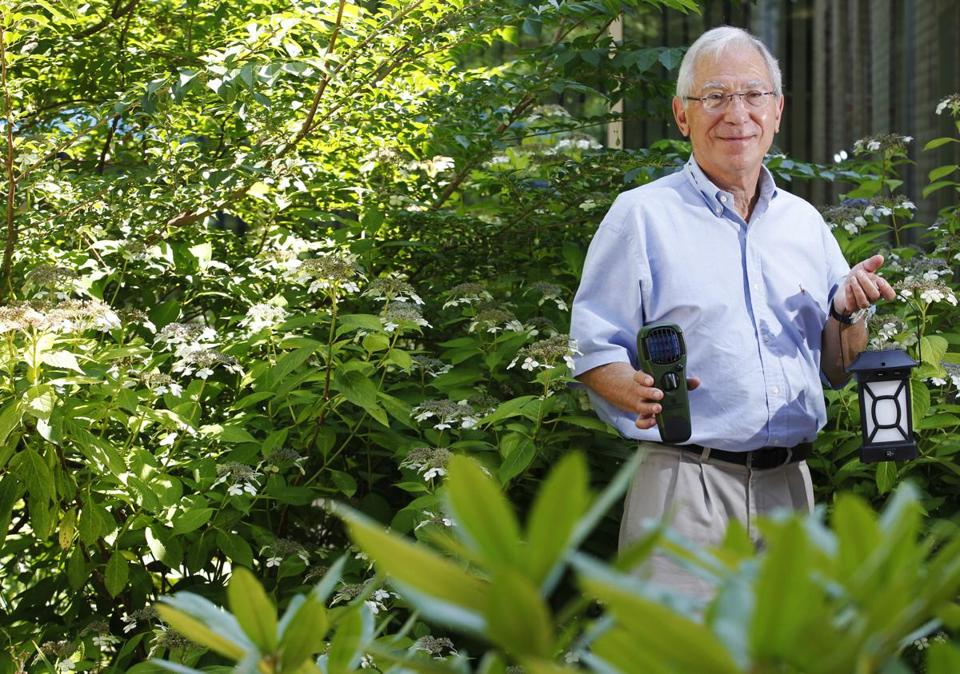 Bill Schawbel showed off two of his ThermaCELL products, which radiate bug repellant.