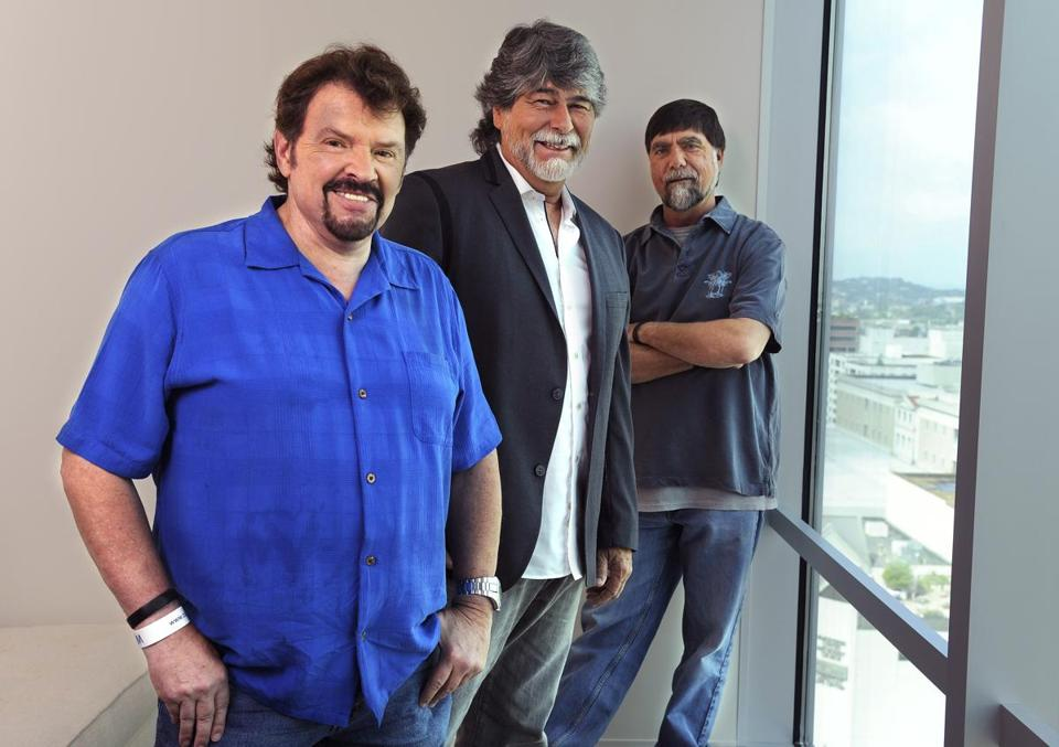 Alabama members (from left) Jeff Cook, Randy Owen, and Teddy Gentry are back on the road and with a new album of duets out this week.
