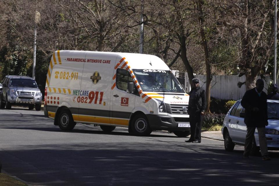 An ambulance brought Nelson Mandela to his home in Johannesburg.
