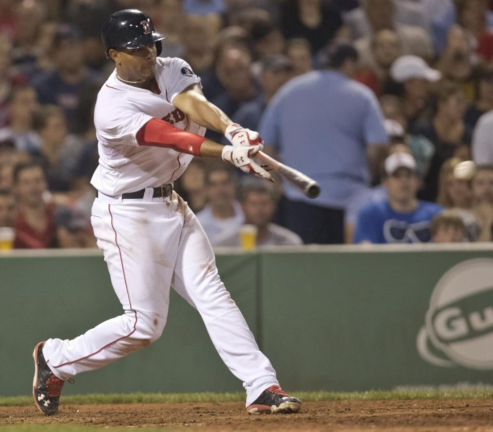 Xander Bogaerts, who had this run-scoring single in the fifth inning, wasn't around for the previous September swoons.