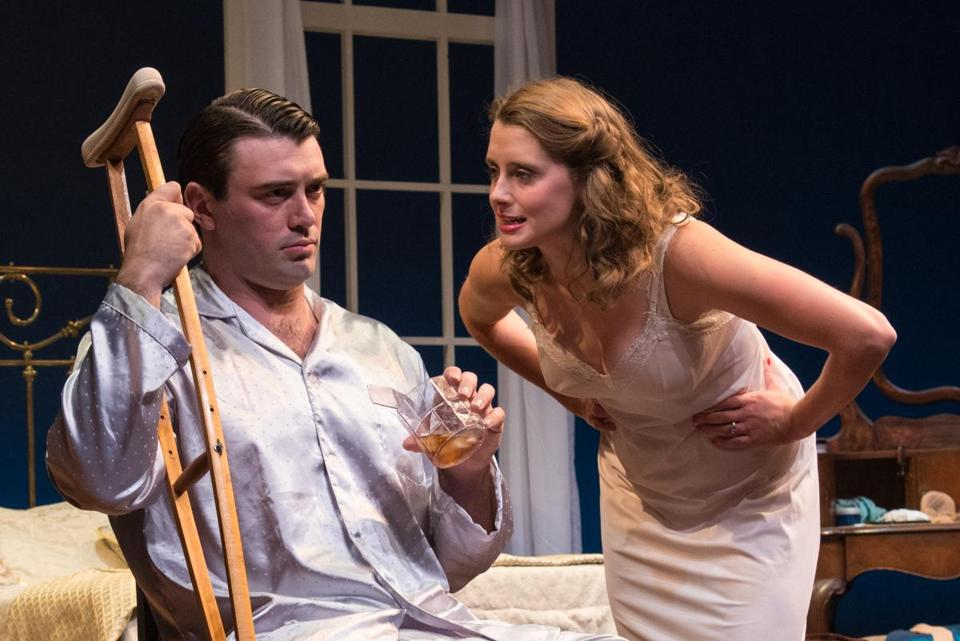 "Steven DeMarco as Brick and Madeleine Lambert as Maggie in Wellfleet Harbor Actor Theater's ""Cat on a Hot Tin Roof."""
