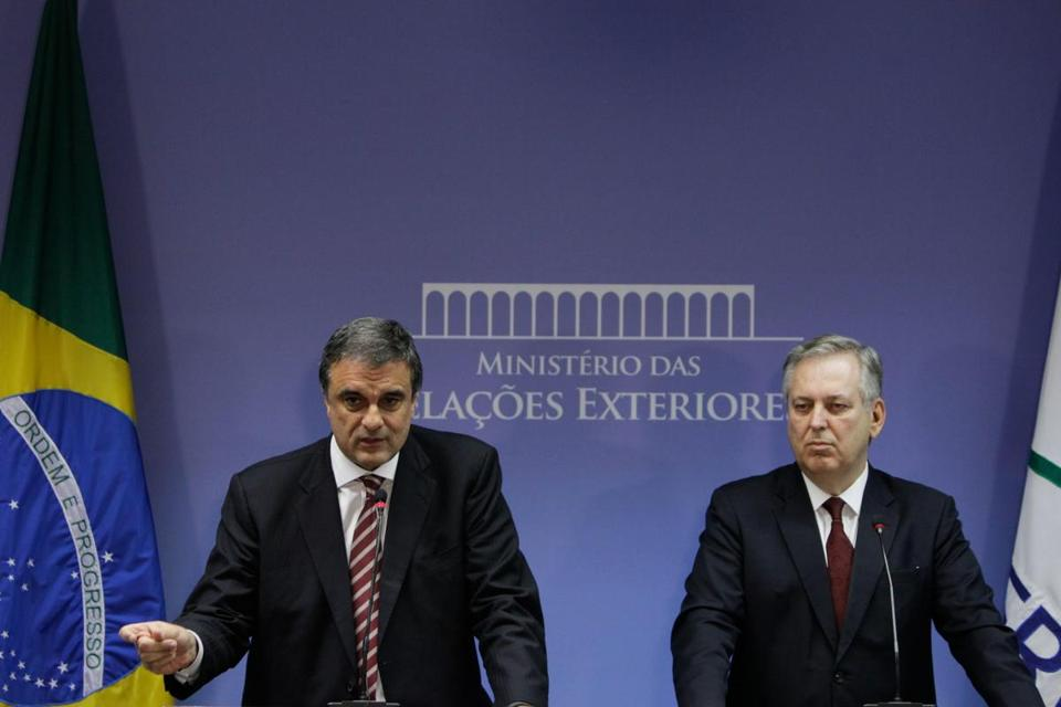 Brazil's Foreign Minister Luiz Alberto Figueiredo (left), and Justice Minister Jose Eduardo Cardoso called the alleged spying an unacceptable violation.