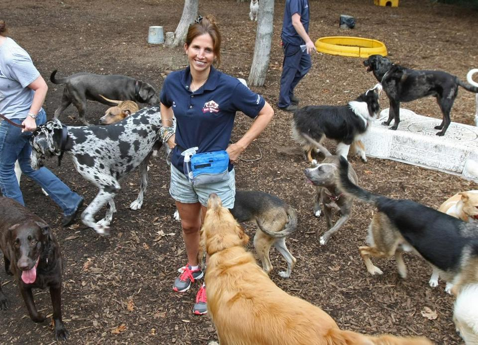 Jeni Mather, founder and director of Blue Dog Shelter, stands in one of the many outdoor play areas at her facility.