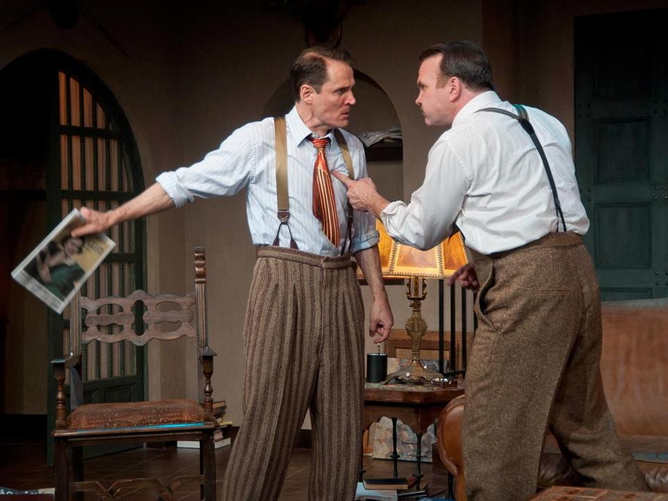 "Joey Collins (left) and Ted Koch in the Barrington Stage Company production of  ""Scott and Hem in the Garden of Allah."""