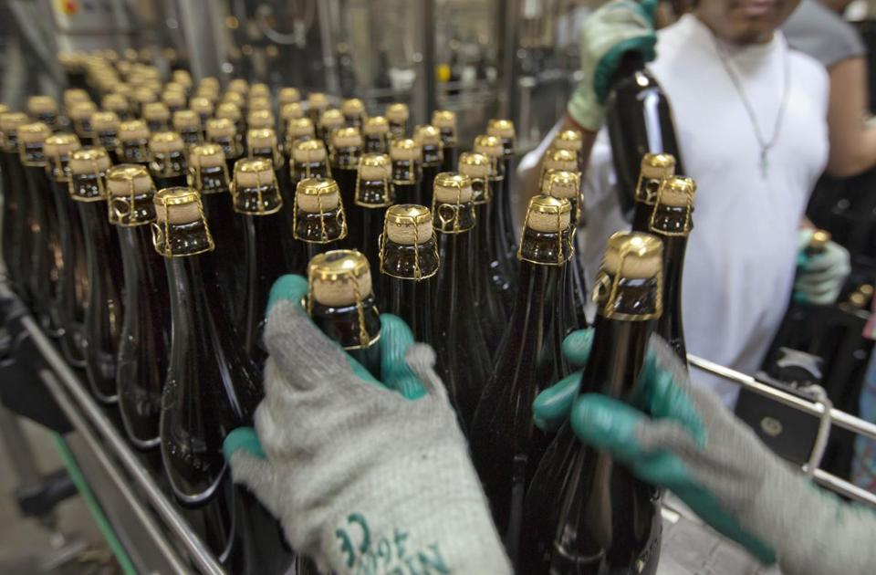 Bottles of ale at a Brooklyn brewery. A recent survey on factory output found broad-based growth.