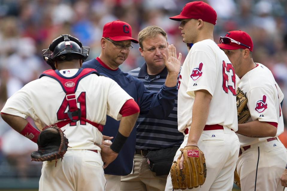 Indians manager Terry Francona removes ailing righthander Justin Masterson in the second inning.