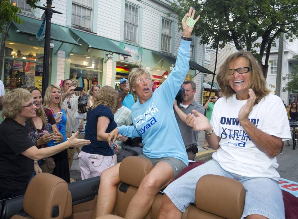 Diana Nyad rode in a parade in Key West after her swim.