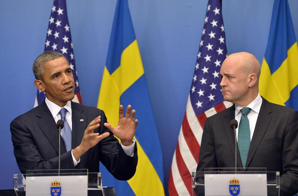 President Obama and Swedish Prime Minister Fredrik Reinfeldt at a joint press conference Wednesday in Stockholm.