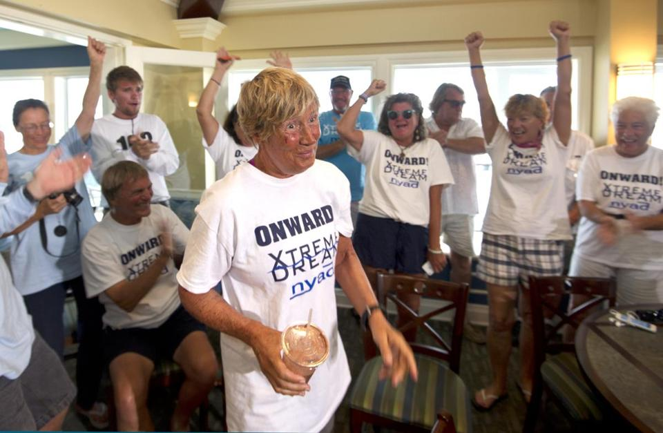 Diana Nyad's crew cheered for her Tuesday in Key West, a day after she finished her 53-hour, record-setting swim.