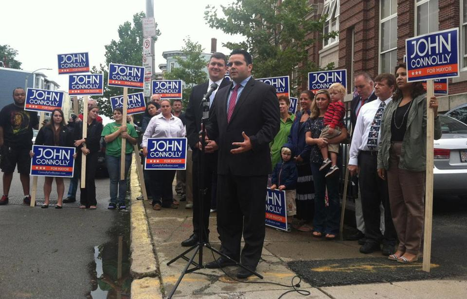 State Representative Nick Collins (at microphone) endorsed mayoral hopeful John Connolly  in South Boston Thursday.