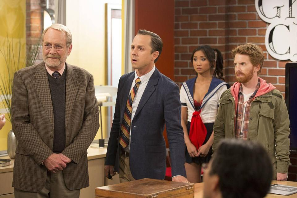 "From left: Martin Mull, Giovanni Ribisi, Brenda Song, and Seth Green in ""Dads.''"