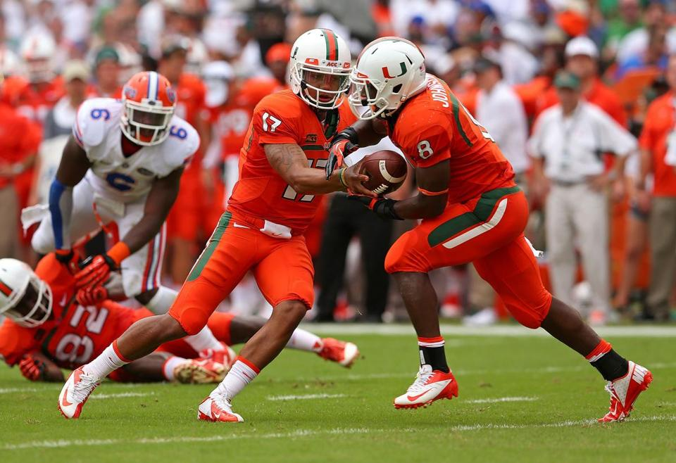 Quarterback Stephen Morris and running back Duke Johnson had a hand in all three touchdowns for Miami.