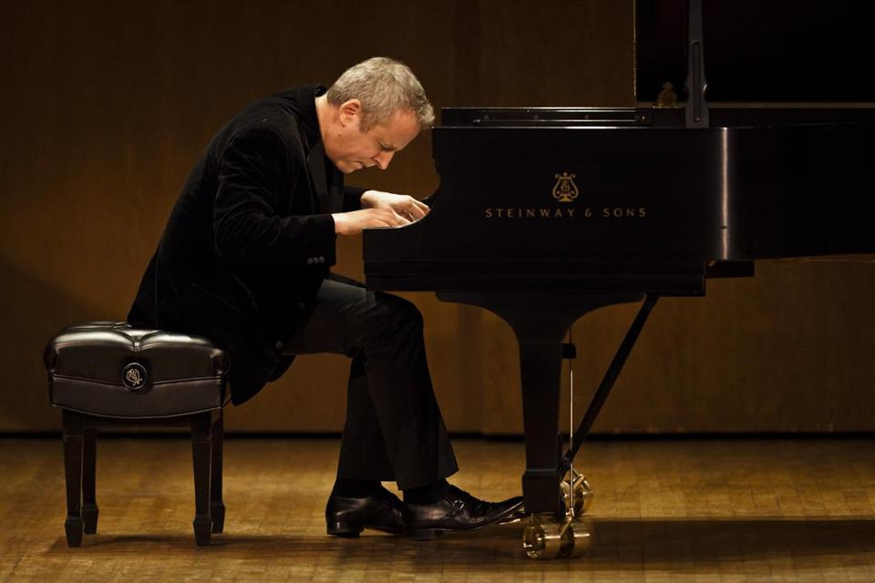 Jeremy Denk (pictured performing in New York in 2011) had the lid removed from the concert grand piano for his performance at Calderwood Hall.