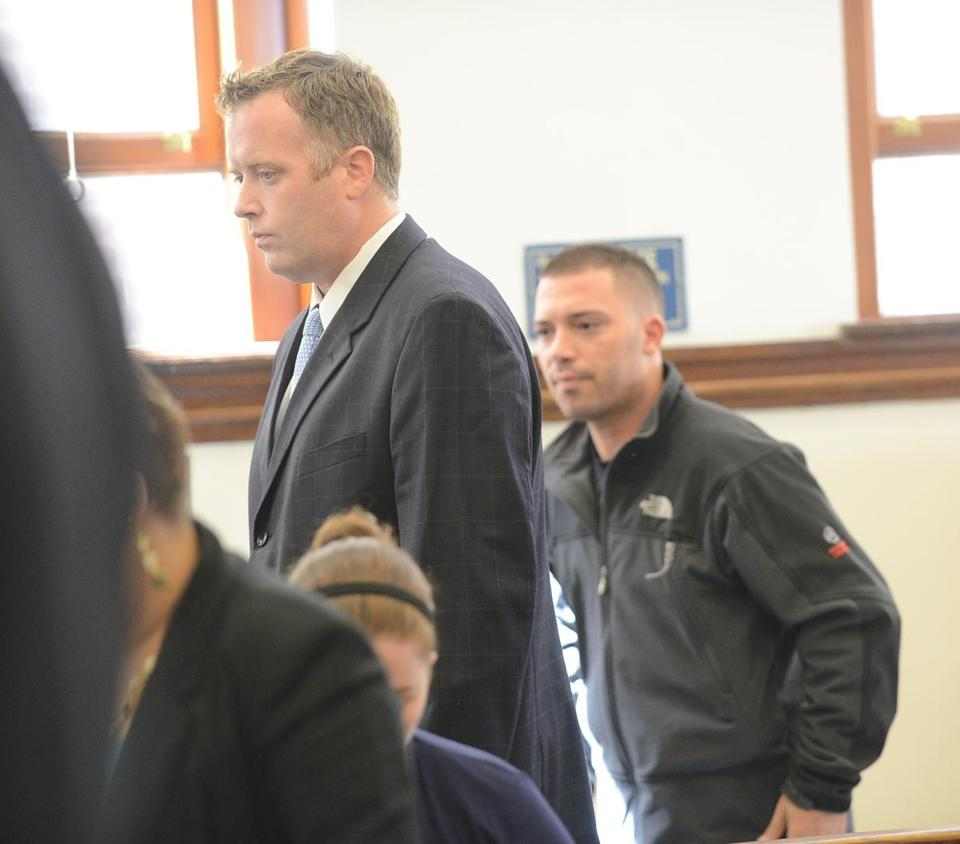 Joseph Doolin (left), 36, of Quincy and Daniel Milisi, 29, of South Boston were arraigned in District Court in South Boston Monday. They pleaded not guilty.  Milisi was held on $2,500 bail. Doolin was freed after posting $540 bail.