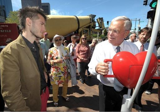 "Mayor Thomas M. Menino of Boston was among the first to try out the ""Pulse of the City"" exhibit at Christopher Columbus Park in the city's North End Friday. ""Our heart's been stolen,'' Dot Joyce, Menino's spokeswoman, said after the theft of the device."