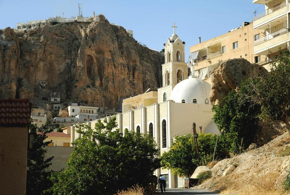 A undated handout from the Syrian news agency SANA showed a church in Maaloula, northeast of Damascus.
