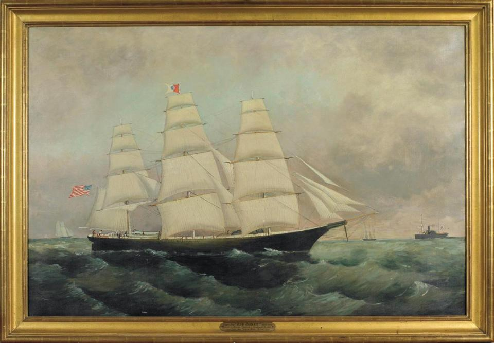 From top left: At Northeast Auctions' Marine, China Trade, and Historical Americana Auction, this 32-by-48-inch oil painting of the clipper ship Red Jacket, built at Rockland, Maine, by George Thomas and launched in 1853, was purchased for $6,000 by the Rockland Historical Society.