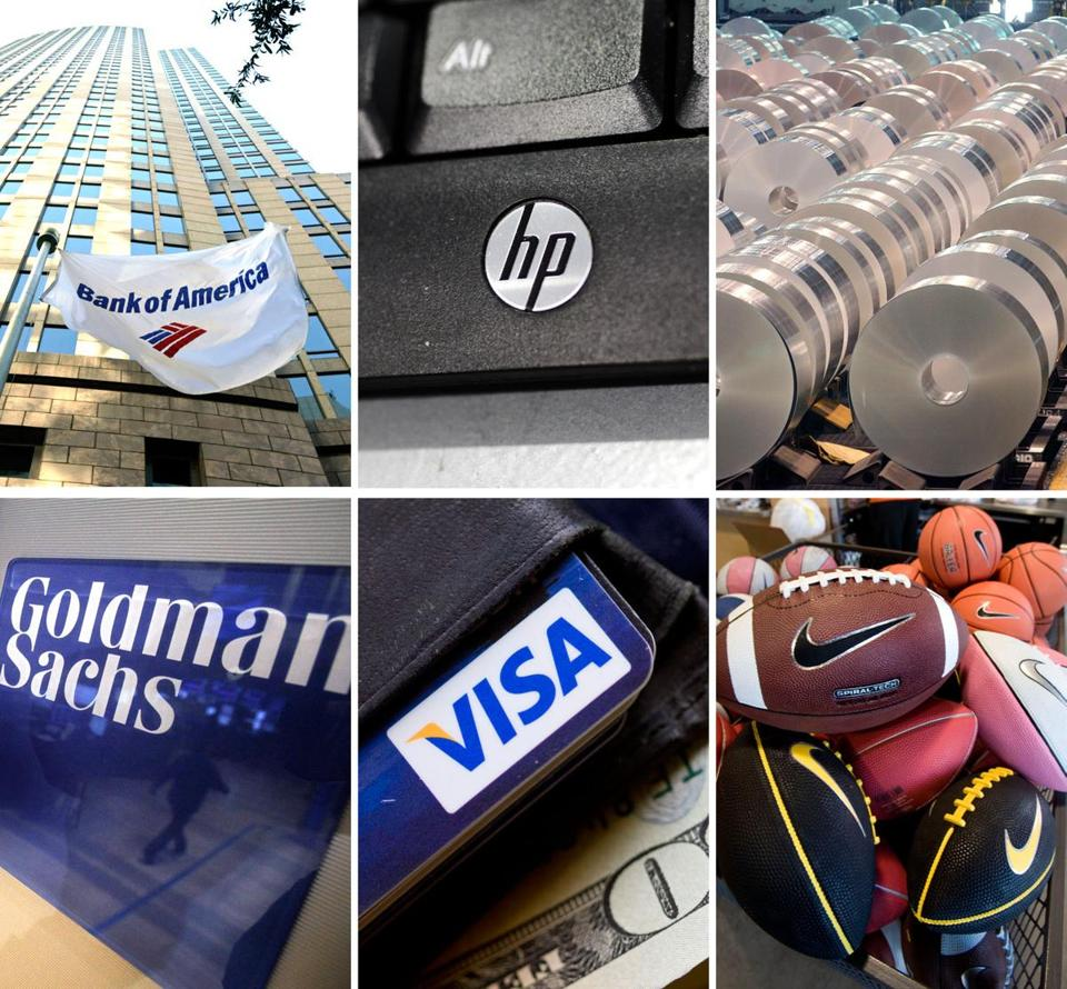 The decision to remove Bank of America, Hewlett-Packard, and Alcoa (top) was prompted by their sagging stock prices and the Dow's desire to diversify the mix of companies. New entrants Goldman, Visa, and Nike are seen as having bright futures.