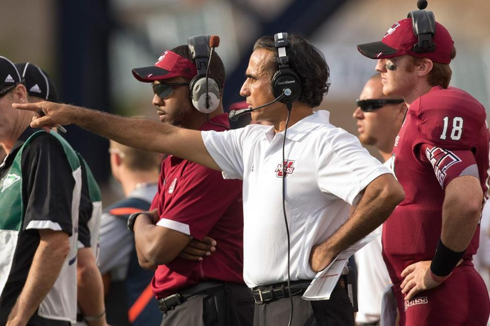 UMass coach Charley Molnar and his football team are 0-2 so far this year.