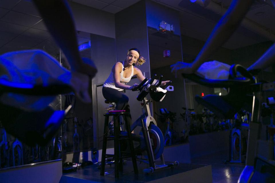 Jessica Bashelor led an indoor cycling class at the Handle Bar, a workout studio she opened this summer.