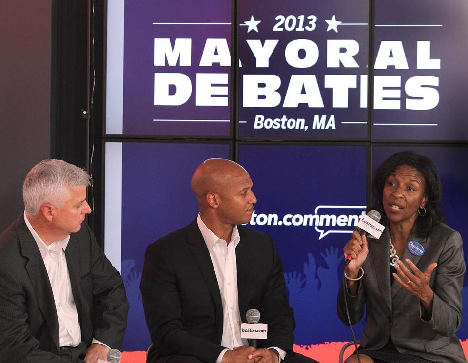 Daniel F. Conley, John F. Barros, and Charlotte Golar Richie participated in a 40-minute debate Wednesday sponsored by Boston.com. The candidates promoted plans to help businesses run by women and minorities, and vowed to make the fire and police departments more representative of the city.