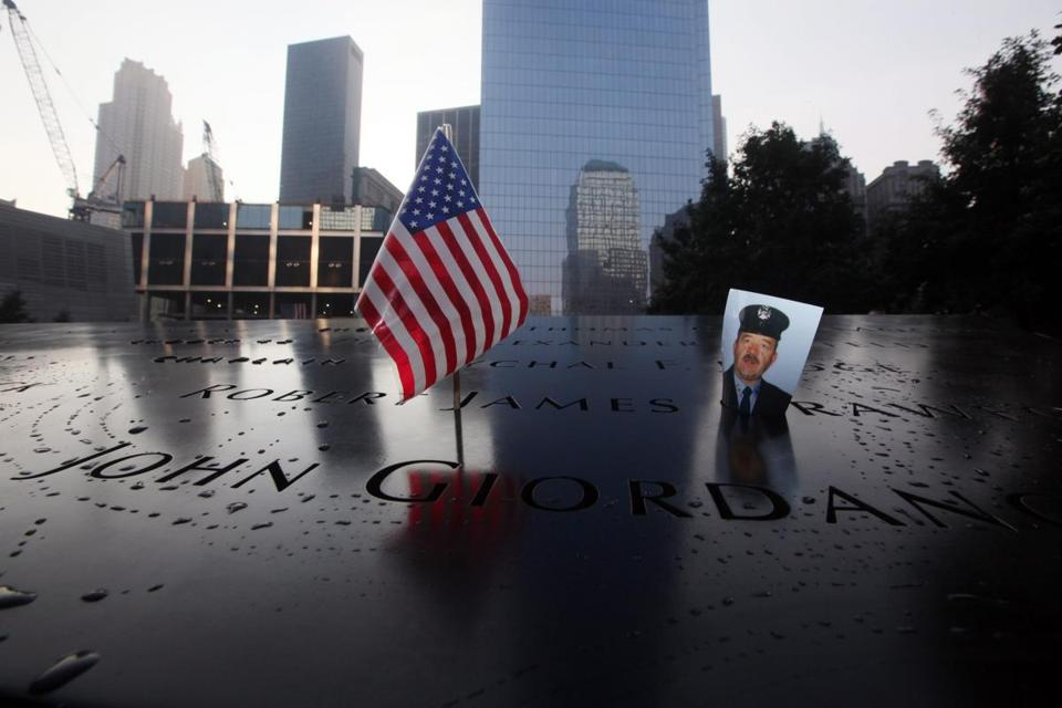 A photo of New York City Firefighter James Crawford, who died on Sept. 11, 2001, was at the 9/11 Memorial in New York.