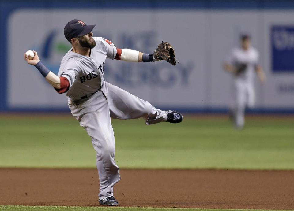 Second baseman Dustin Pedroia leans into this throw, which beat the Rays' Ben Zobrist to first base during the first inning.