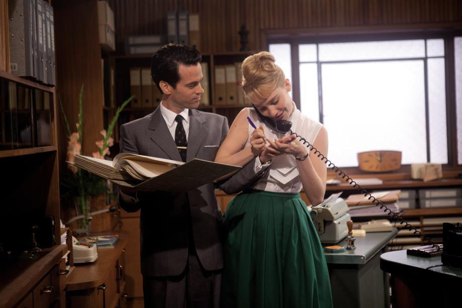 "Déborah François (with Romain Duris) plays a secretary who enters a speed-typing competition in ""Populaire."""
