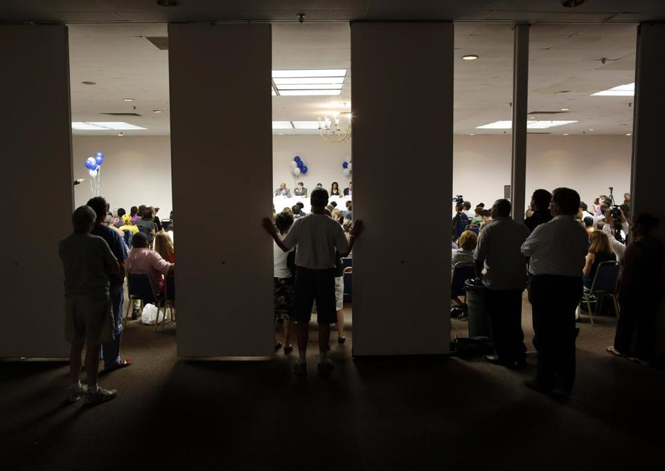 The mayoral debate at the Boston Teachers Union Hall in Dorchester drew an overflow crowd Tuesday night.