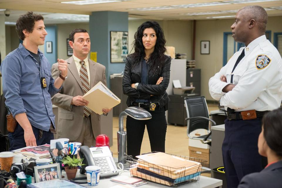"From left: Andy Samberg, Joe Lo Truglio, Stephanie Beatriz, and Andre Braugher in ""Brooklyn Nine-Nine."""