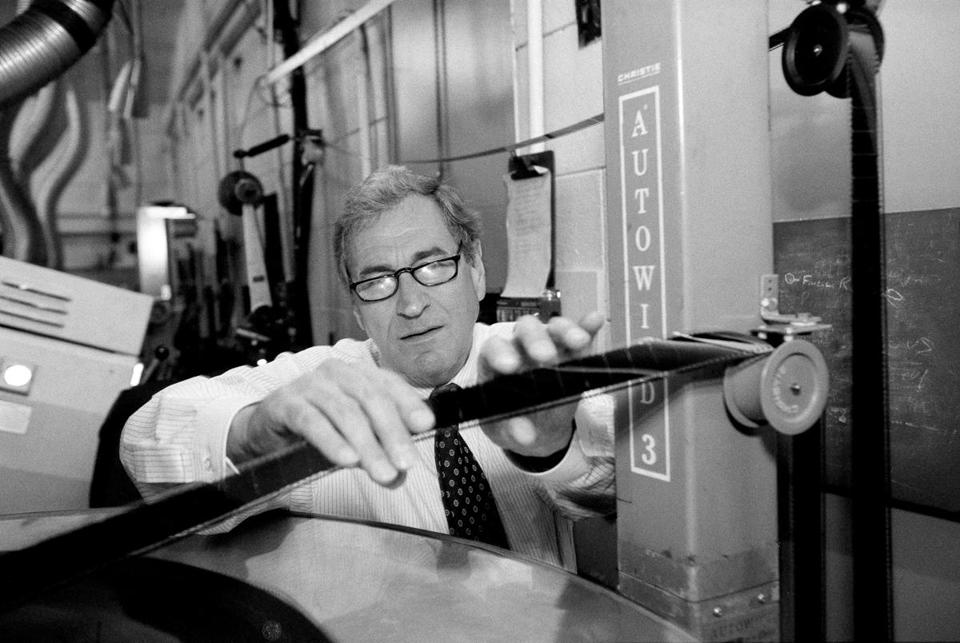 Dr. Dolby visited the film projection booth at Radio City Music Hall in 1994.