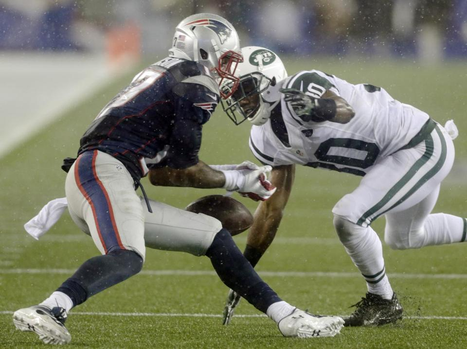 Patriots wide receiver Aaron Dobson dropped a pass during the third quarter.