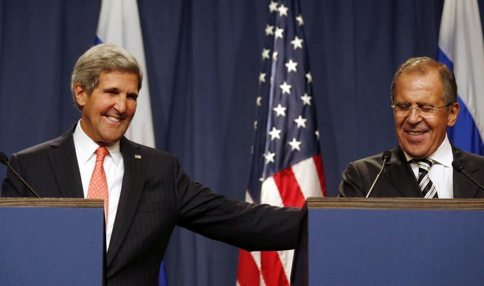 US Secretary of State John Kerry (left) and Russian Foreign Minister Sergei Lavrov were all smiles Saturday at a news conference in Geneva.