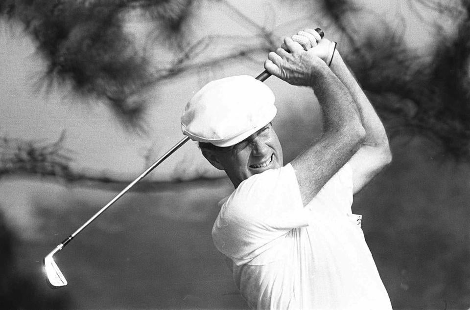 William C. Campbell followed through on a shot in 1973 during the US Amateur tournament in Toledo, Ohio.