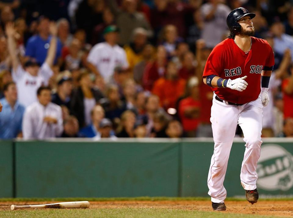 Jarrod Saltalamacchia hit a grand-slam in the 7th inning against the New York Yankees on Friday.