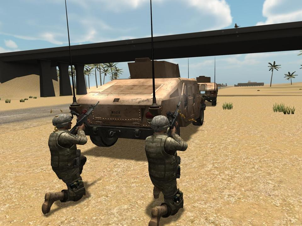 An image from the latest virtual Iraq/Afghanistan system, called Bravemind and developed by the University of Southern California Institute for Creative Technologies.