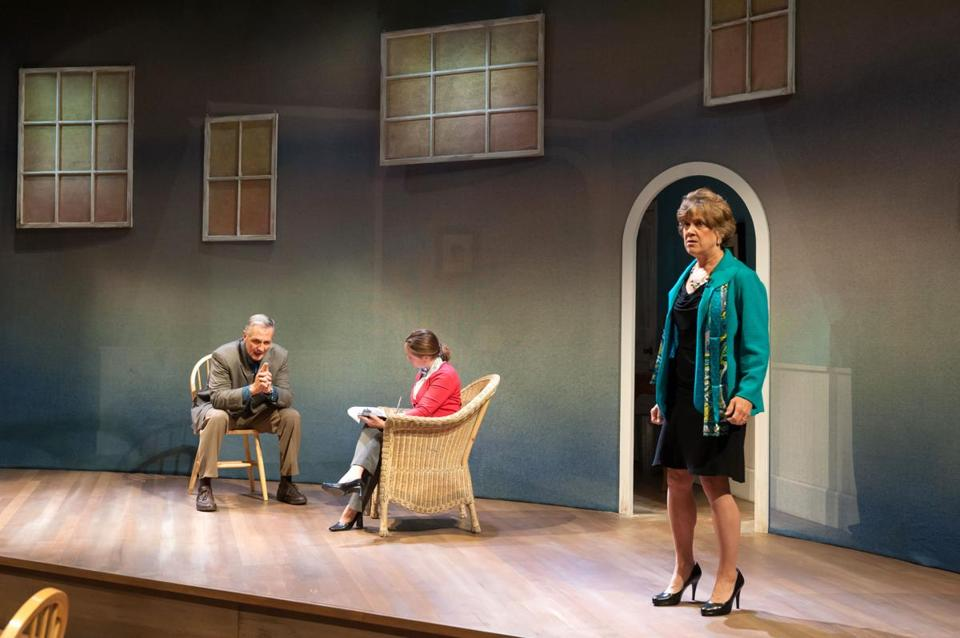"From left: David DeBeck as Ian, Angie Jepson as Dr. Teller, and Debra Wise as Juliana in Sharr White's ""The Other Place."""