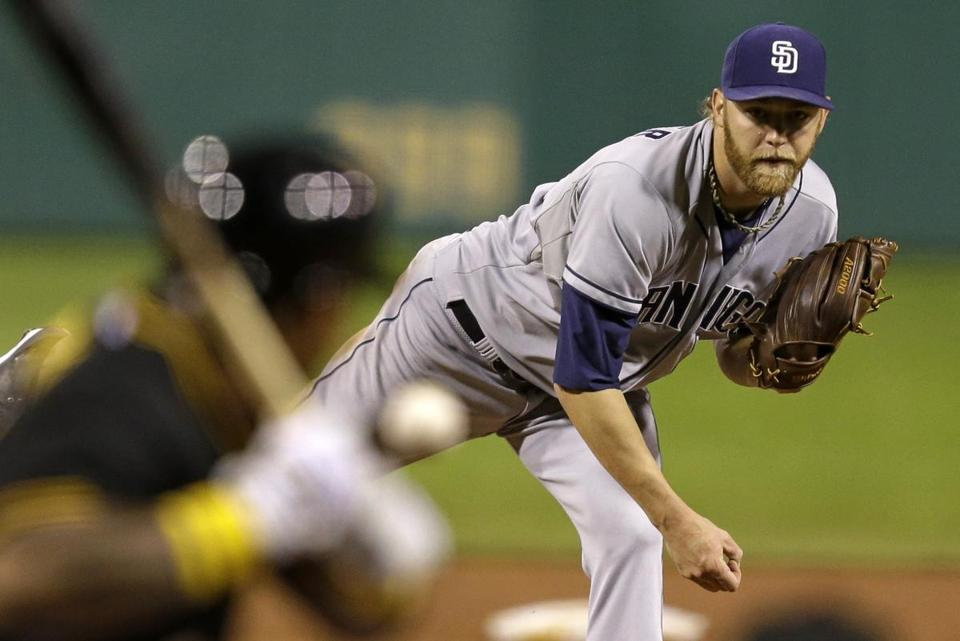 The Padres' Andrew Cashner, who finished with a one-hitter, shows perfect form in the eighth inning against the Pirates.
