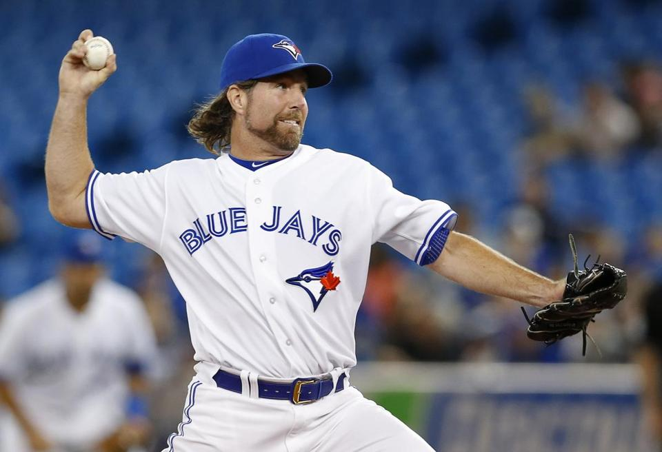 Blue Jays pitcher R.A. Dickey (13-12) allowed four hits, walked two, and struck out eight.
