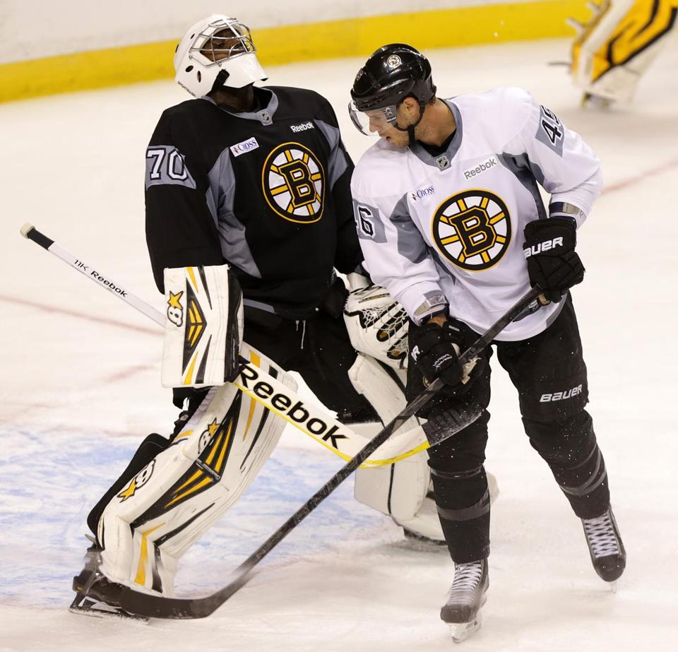Goalie Malcolm Subban was exasperated with himself after  David Krejci tipped a shot past him during practice.