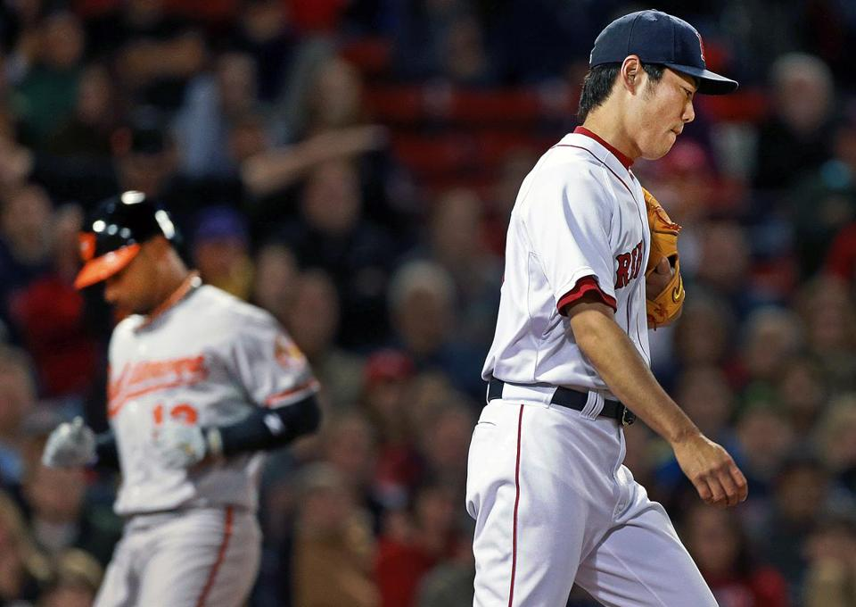 Koji Uehara, who had retired 37 straight, finally allowed a hit — and a run — as pinch-runner Alexi Casilla scores on a sacrifice fly in the ninth.