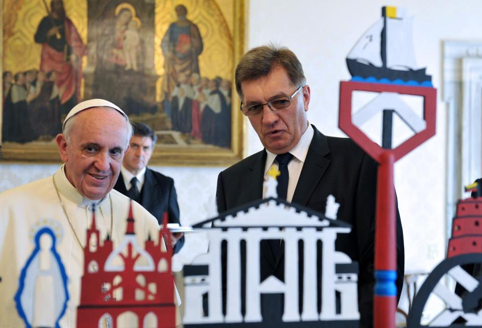 Pope Francis spoke with Algirdas Butkevicius, prime minister of Lithuania, at the Vatican on Thursday.