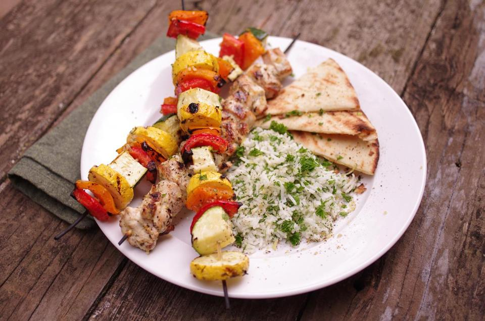 Chicken kebabs.