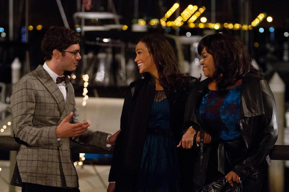 "From left: Adam Brody, Paula Patton, and Jill Scott in the romantic comedy ""Baggage Claim."""