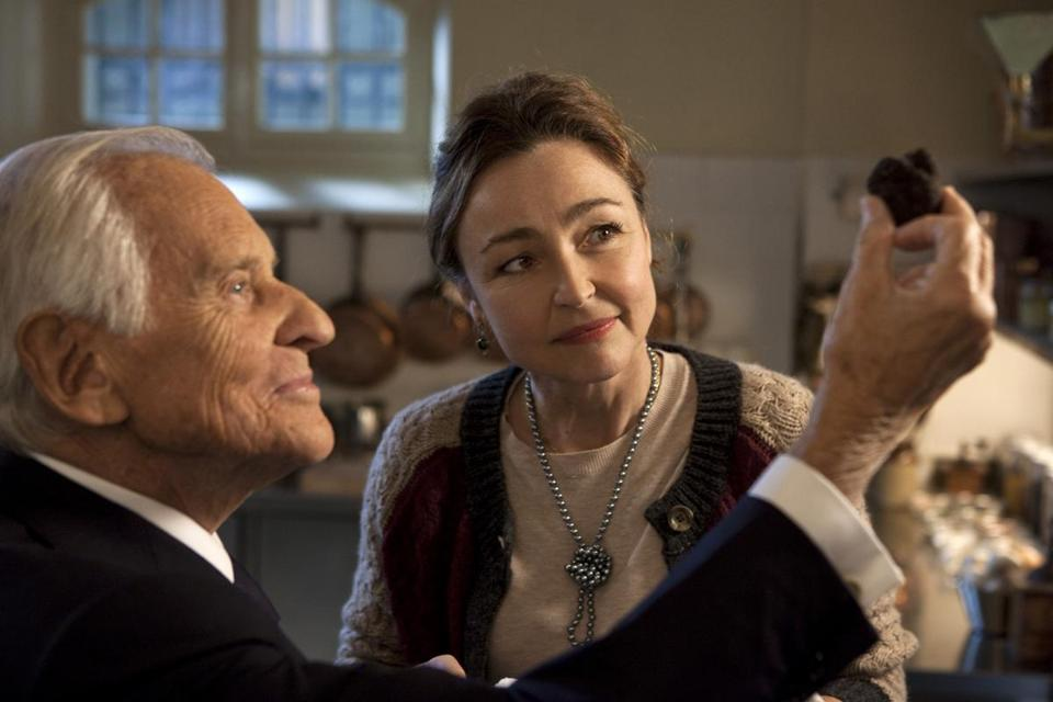 "Jean d'Ormesson as French President François Mitterrand and Catherine Frot as his personal chef in ""Haute Cuisine."""