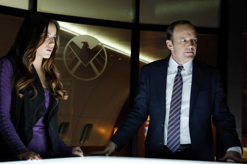 "Chloe Bennet as Skye and Clark Gregg as Agent Coulson in Joss Whedon's ""Marvel's Agents of S.H.I.E.L.D."""