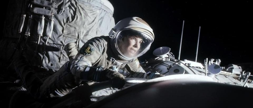 "SANDRA BULLOCK in outer space in the thriller ""GRAVITy."""