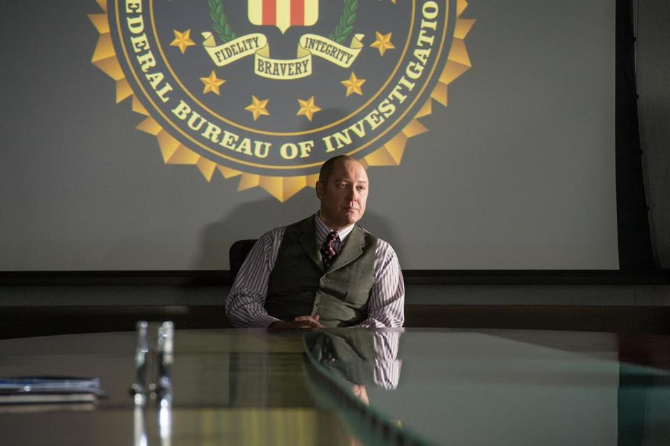 "James Spader plays a criminal who turns himself in and offers to help the FBI catch terrorists in ""The Blacklist."""