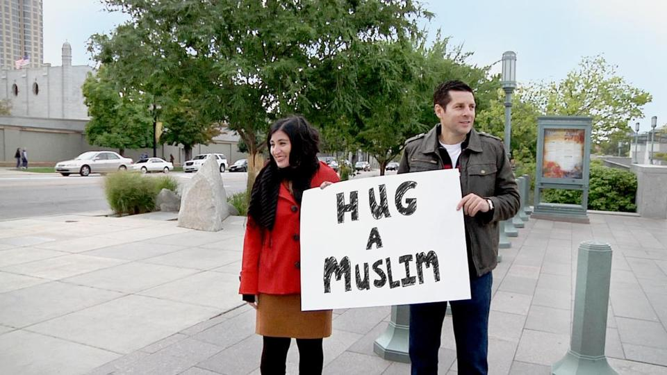 "Negin Farsad (left) and Dean Obeidallah in a scene from ""The Muslims Are Coming!"""