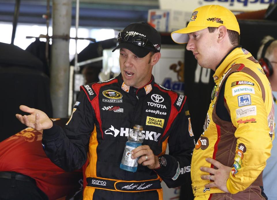 Matt Kenseth (left), talking with teammate Kyle Busch at NHMS Friday, finished 1-2 last weekend at Chicagoland.